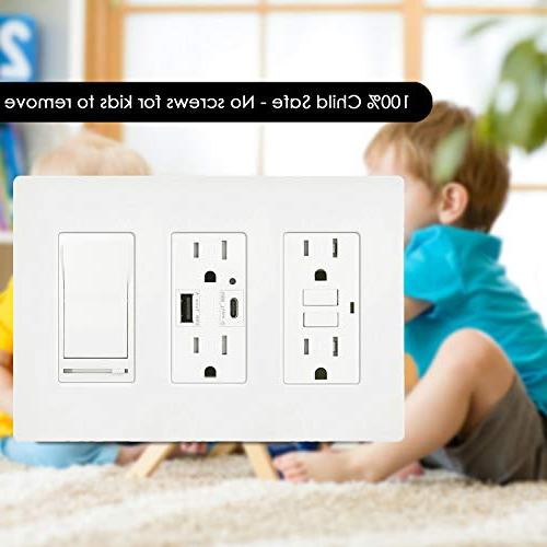 USWP4 3-Gang Size Light Switch Cover, Wallplate for GFCI Outlet, Receptacle, Sensor, Child Unbreakable PC, Listed,