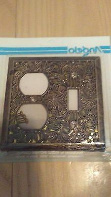 VINTAGE LOOKING ANTIQUE BRASS SINGLE LIGHT SWITCH PLATE OUTL