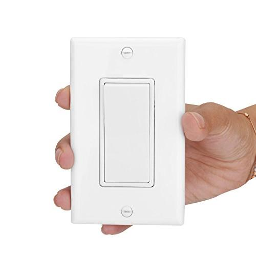 Wall Switch Interrupter , Wall Single Pole Grounding Rocker for Lamp, Commercial Grade, White