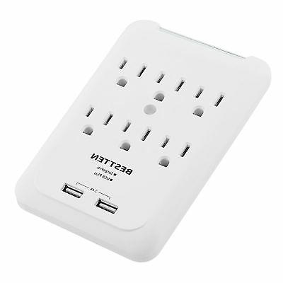 BESTTEN Wall Tap Adapter Surge Protector 6 Outlet Power Sock