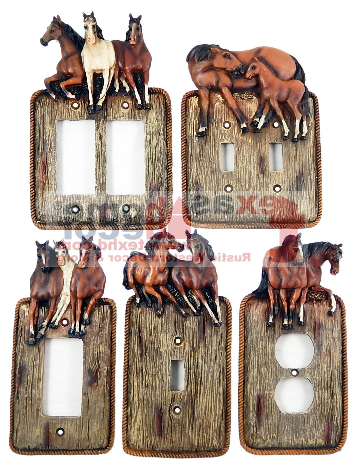 Western Running Horses Light Switch Plate Covers Faux Wood L