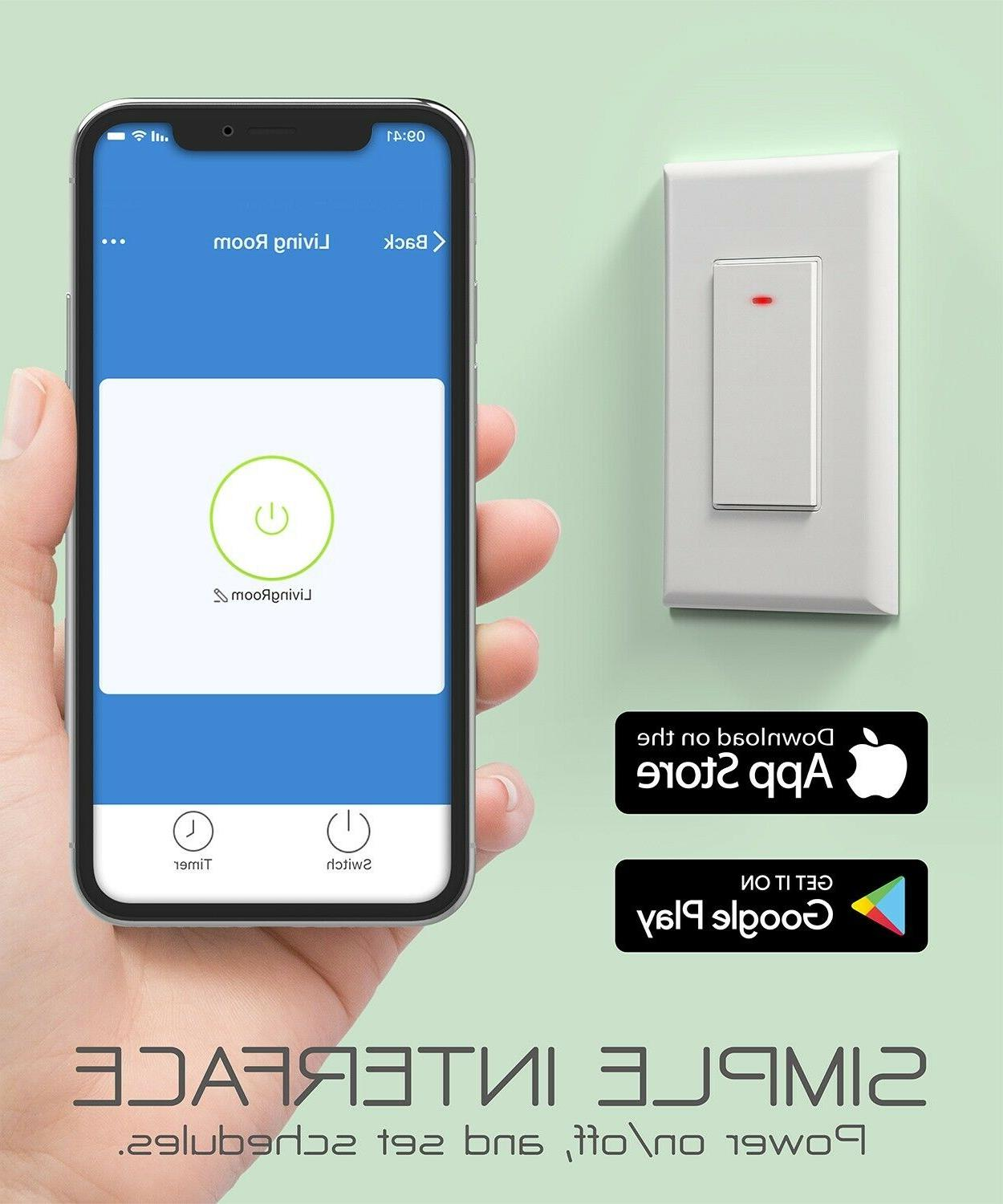 WiFi In Wall Smart Switch App Timer Alexa Google Home Voice Control