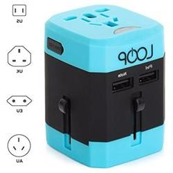LOOP BEST Worldwide Travel Adapter with Dual USB Charging Po
