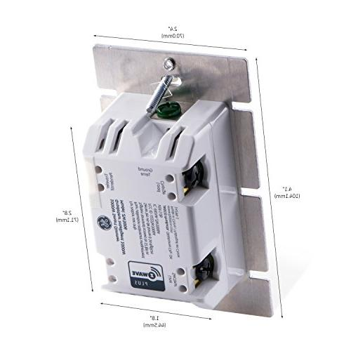 GE Z-Wave Plus 1000W Dimmer for ONLY, Incl. Almond Paddles, Zwave Hub Required, Works Wink, 14299,