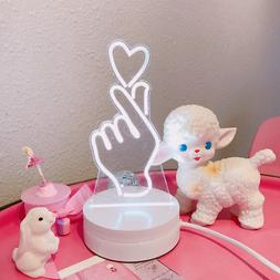 LED Night Light 3D Heart Finger Shape Lamp Touch Switch Home