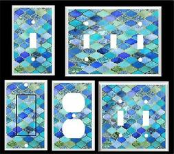MOROCCAN  PATTERN PRINT LIGHT SWITCH COVER PLATE BLUE SHADES