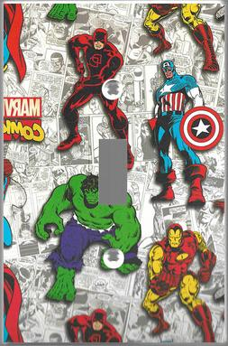 light switch cover wall plate Marvel comic art print Kids ch