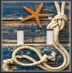 Light Switch Plate Cover Beach Home Decor Rope Starfish Blue