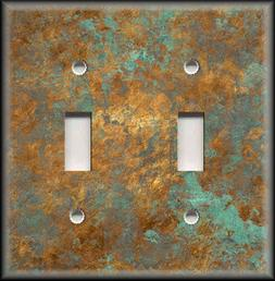 Light Switch Plate Cover - Image Of Aged Copper - Patina - H