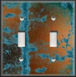 Light Switch Plate Cover - Image Of Aged Copper Design Rusti
