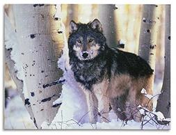 Light Up Wolf Picture - LED Lighted Canvas Print - Grey Wolf