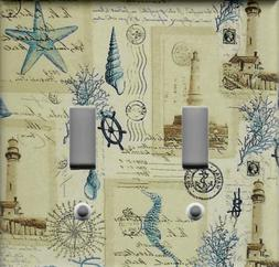 LIGHTHOUSE BLUE SHELLS AND STARFISH HOME DECOR LIGHT SWITCH