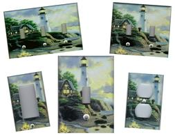LIGHTHOUSE WITH CABIN NAUTICAL HOME DECOR LIGHT SWITCH PLATE