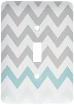 3dRose lsp_179811_1 Grey Chevron with Mint Turquoise Zig Zag