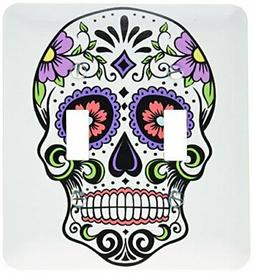 3dRose lsp_186236_2 Sugar Skull, Pink Light Switch Cover