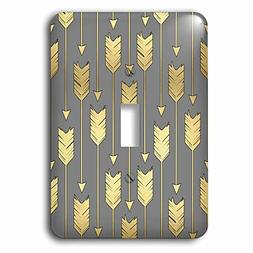 3dRose lsp_219529_1 Grey and Gold Arrows Pattern - single To