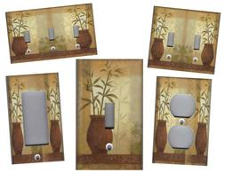 LUCKY BAMBOO IN CLAY POT ASIAN HOME WALL DECOR LIGHT SWITCH