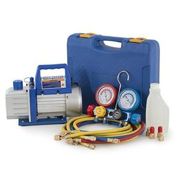 ARKSEN 4 Way Manifold Gauge and 4 CFM Vacuum Pump Kit for Ai