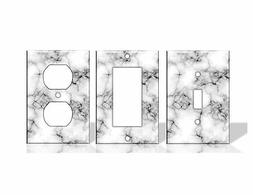 Marble White Light Switch Covers Home Decor Outlet - Faux Ma