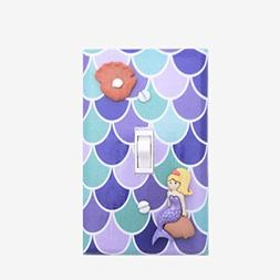 Mermaid light switch cover nursery Girls bedroom wall decor