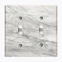 Metal Light Switch Cover Wall Plate Kitchen Marble Gray Patt
