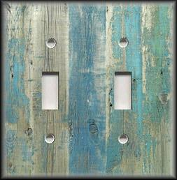 Metal Light Switch Plate Cover Beach Aged Wood Image Blue -