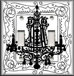 Metal Light Switch Plate Cover - Black And White Chandelier
