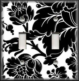 Metal Light Switch Plate Cover - Black And White Floral Home