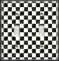 Metal Light Switch Plate Cover Black And White Checkered Art