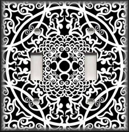 Metal Light Switch Plate Cover - Black And White Home Decor
