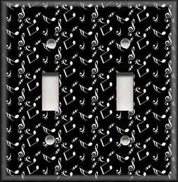 Metal Light Switch Plate Cover Black And White Sheet Music N