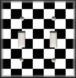 Metal Light Switch Plate Cover - Bold Black And White Checke