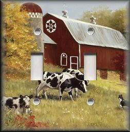 Metal Light Switch Plate Cover - Country Amish Farm Cows Red
