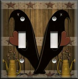 Metal Light Switch Plate Cover - Country Black Crows Decor P