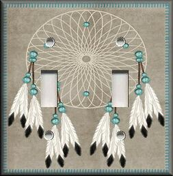 Metal Light Switch Plate Cover Dream Catcher White Feathers