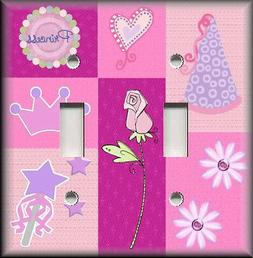 Metal Light Switch Plate Cover Girls Room Decor Purple Pink