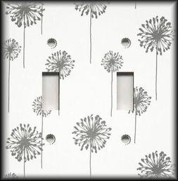 Metal Light Switch Plate Cover Grey And White Dandelion Desi