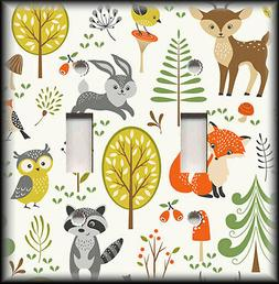 Metal Light Switch Plate Cover Hipster Woodland Animals Nurs
