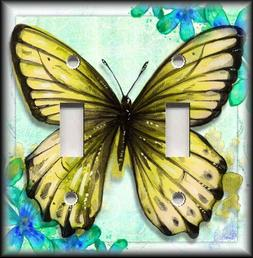 Metal Light Switch Plate Cover - Painted Art Butterfly Yello