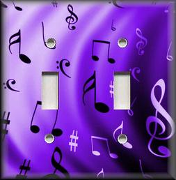 Metal Light Switch Plate Cover - Purple Music Notes Home Dec