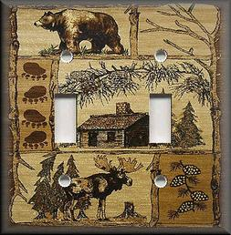 Metal Light Switch Plate Cover - Rustic Bear And Moose Cabin