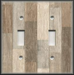 Metal Light Switch Plate Cover Rustic Wood Image Design Patc