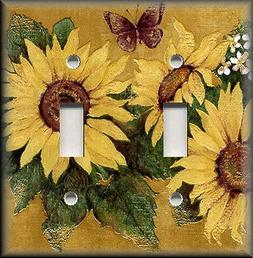 Metal Light Switch Plate Cover - Sunflowers Decor Butterfly