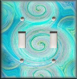 Metal Light Switch Plate Cover - Swirling Colors Aqua Blue T