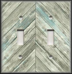 Metal Light Switch Plate Cover Wood Design Grey Blue Chevron