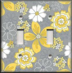 Metal Light Switch Plate Cover - Yellow And Grey Fun Floral