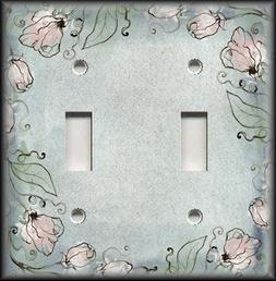 Metal Light Switch Plates - Blue Grey And Pink Floral Art De