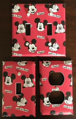 MICKEY MOUSE LIGHT SWITCH COVER PLATES FACES RED DISNEY KIDS