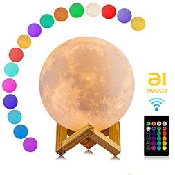 Moon Lamp, LOGROTATE 16 Colors LED 3d Print Moon Light with