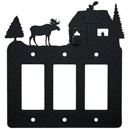 Moose & Cabin Triple 3-Gang Rocker Light Switch - GFCI Power